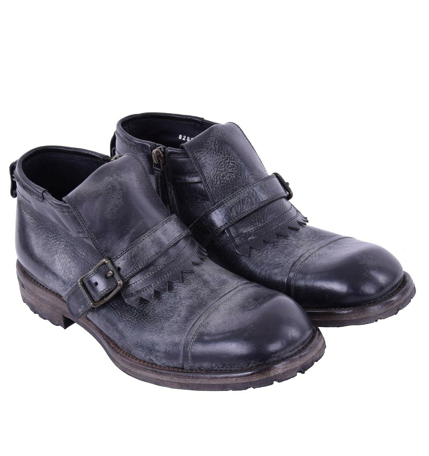 DOLCE /& GABBANA Siracusa Bison Leather Boots Shoes Black 03834