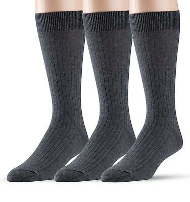 EMEM Men's Ribbed Cotton Classic Crew Dress Socks 3-Pack, Big and Tall Available 2