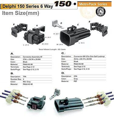 2-Pin Delphi Metri-Pack 150 Series Connector w//20-22 AWG Sealed Waterproof Set