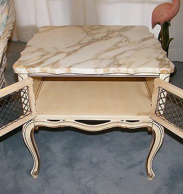Vintage Marble Top French Provincial Style Furniture 1 Coffee 2 End Tables 3