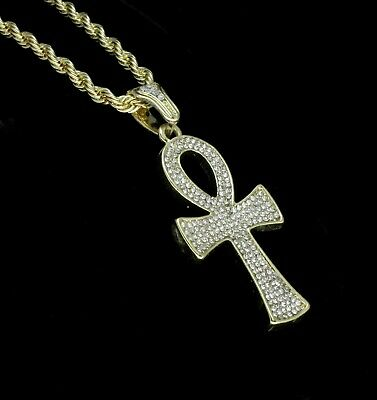 """Icy Ankh Pendant 14k Gold Plated Cz w/ 24"""" Rope Chain Hip Hop Necklace 3"""