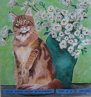 "C305   Original Acrylic Painting By Ljh  ""Bosco""  Cat Kitten 12"
