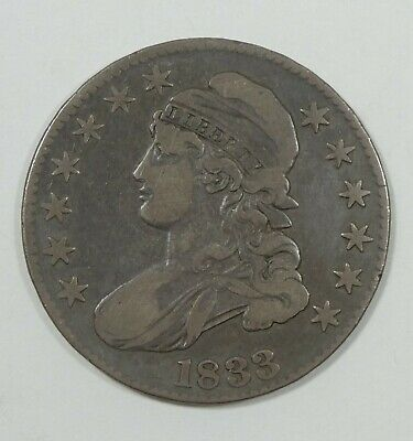 1833 Capped Bust/Lettered Edge Half Dollar FINE Silver 50-Cents 3