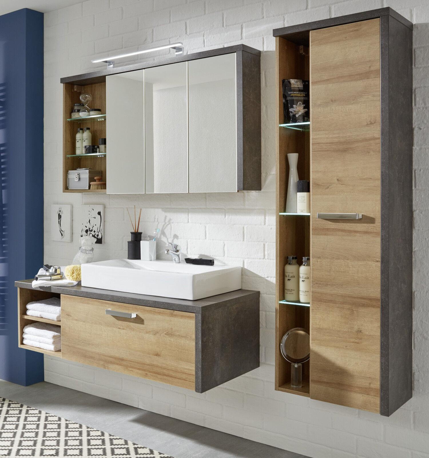 BAD SET MIT Waschbecken Badezimmer komplett Eiche Honig Stone Design Serie  Bay