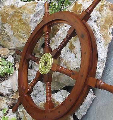 Timón De Barco Maritimo barco Timón Piratas Timón De Barco Madera Latón 62 cm 3
