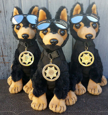 Black Tan German Shepherd Plush Police Dog w K9 Badge Mirrored Aviators charity 2