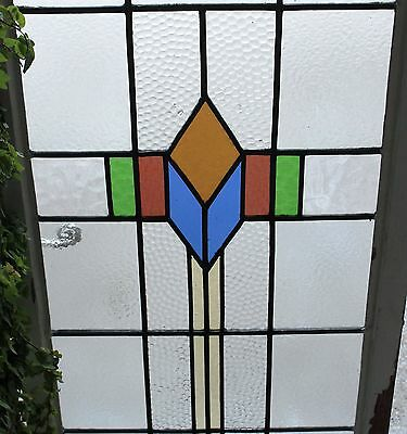 Antique English Wood Framed Leaded 7-Color Stained Glass Window Art Deco LARGE#2 11