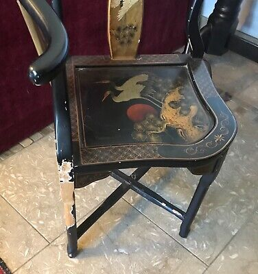 Vintage Chinese Black Lacquer Corner Chair Decorative 3