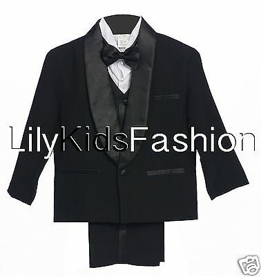 D1 Baby /& BOY Formal Holiday Party Tuxedo Suit w// Vest bow tie Black S-XL 2-20