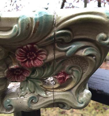 HEAVY Antique Majolica Pedestal Depose ORNATE FACES Base Ceramic ART Cement VTG 5