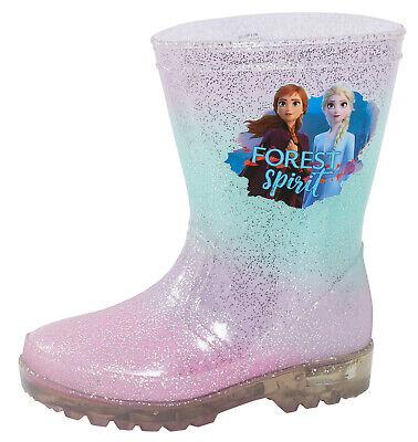 Disney Frozen 2 Girls Light Up Wellington Boots Elsa Anna Flashing Snow Wellies 2