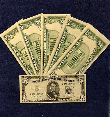 ✯$5 SILVER CERTIFICATE Note✯ Blue Seal ✯Old Money Rare Bill Lot ...