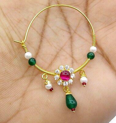 Vintage Antique Ethnic 20k Gold Tribal Nose Ring Pin Nath Cubic