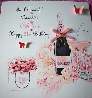HANDMADE PERSONALISED BIRTHDAY CARD 18th 21st 40th DAUGHTER SISTER FRIEND ETC