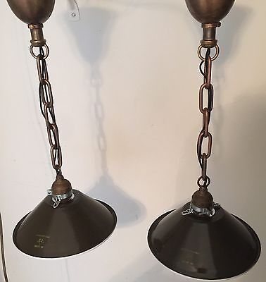 "19""  Long Industrial Pendant Light Pair With 8"" Wide Military Green Shades! 4"