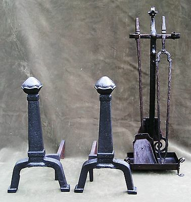 Vintage Antique Arts & Crafts Hammered Iron Andirons Fireplace 8