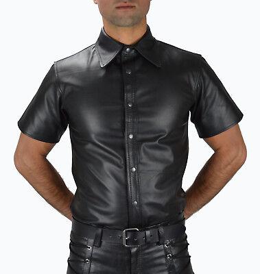 AW-666 Lederhemd Schwarze leder hemd,Soft leather shirt en cuir,Lederuniform 6