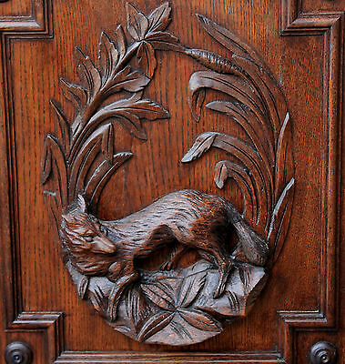 Antique French Oak Black Forest FOX Architectural Hanging Wall Panel Door #1 4