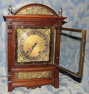 Antique Oak & Brass TING TANG Bracket Mantel Clock WINTERHALDER HOFFMEIER W & H 3