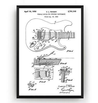 Fender Guitar Amplifier Patent Print Art Poster Wall Decor Gift Unframed