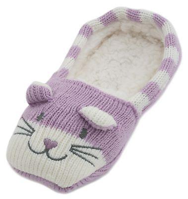 RJM Girls Soft Knitted Cat Slipper Socks with Grippy Soles 2
