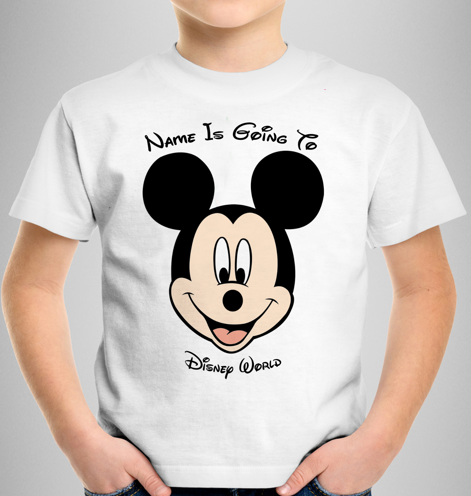 Personalised Mickey Minnie Mouse Kids T-shirt YOUR NAME IS GOING TO DISNEY WORLD 2