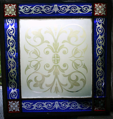 c1850 two glass window, cut glass to clear ruby, cobalt, clear, heart, tulip, 7' 8