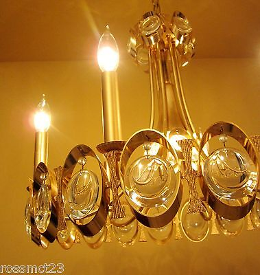 Vintage Lighting extraordinary 1970s Sciolari 24K gold crystal chandelier 3