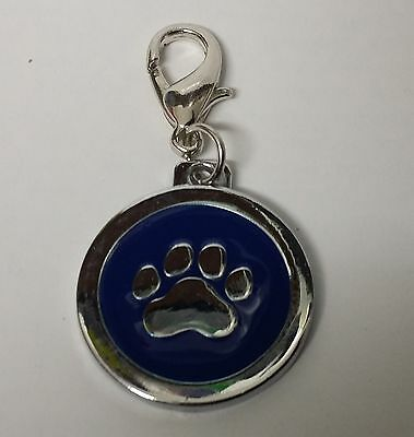 ENGRAVED PAW PRINT Pet Name Id Tag cat puppy dog collar 25mm nickel disc disk P 6