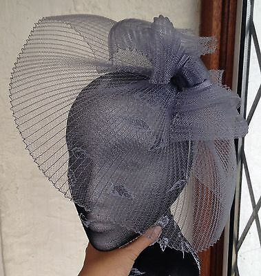 Grey feather fascinator millinery burlesque headband wedding hat hair piece 2