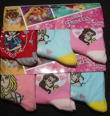 6 x Pairs of Girl's Character Socks  U.K. Shoe Sizes 6 - 2.5 (Roughly 1-8 Yrs) 2