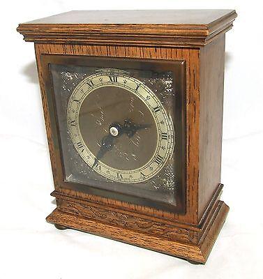Oak with Blind Fretwork Bracket Mantel Clock by ELLIOTT LONDON 3