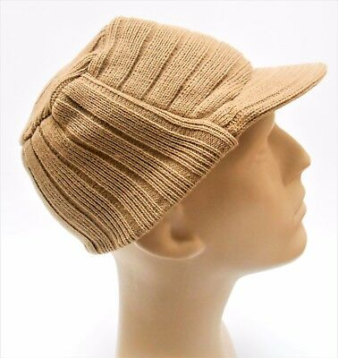 Men/'s Cadet Hat Knit Winter Cap with Brim Military Style Choice of Colors