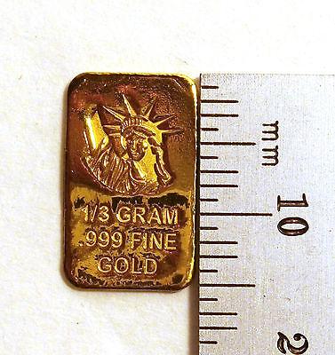 1//4 GRAM GOLD BAR OF 24K PURE .999 FINE GOLD STRATEGIC BULLION A9b