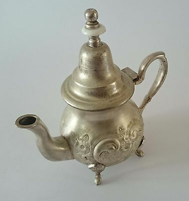 Old Beautiful  Handcrafted Marked  Islamic  Moroccan Hammered Teapot Tea Pot 3