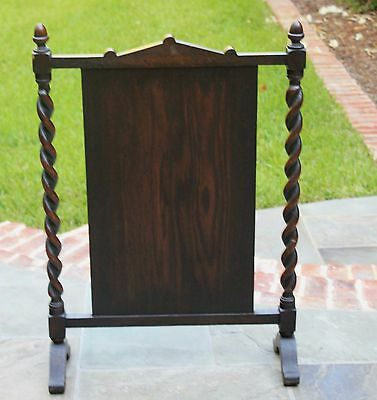 Antique English Dark Oak Jacobean Barley Twist  Hearth Fireplace Screen 10