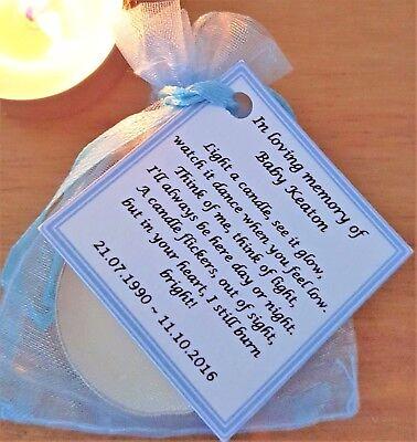 Personalised candle favour memorial funeral keepsake -memory bereavement loss 6