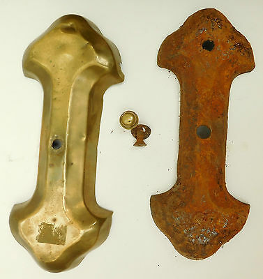 Antique brass door furniture Knob and cast iron fixing plate Reclaimed vintage 6