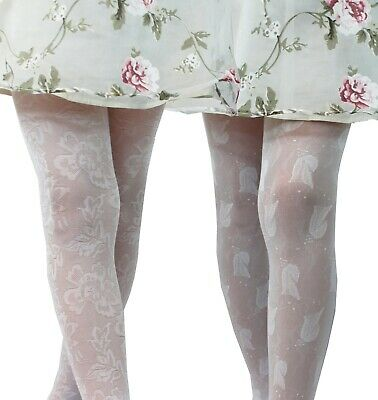 Girls White Patterned Tights Communion Bridesmaid Girl Party Pantyhose 2