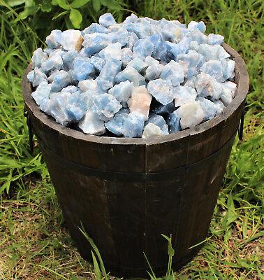 Bulk Wholesale Lot: Rough Blue Calcite 2 lb Crystal Healing Chakra Raw Chunks 8