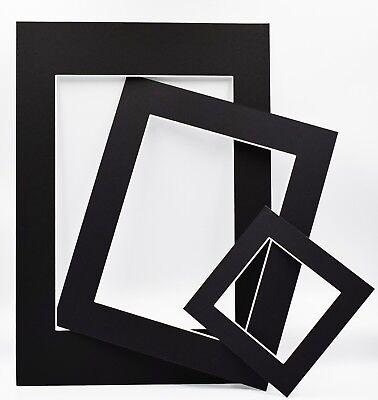 Black Photo Picture Frame Mounts Bevel Cut 1.4mm White Core Mount board 3