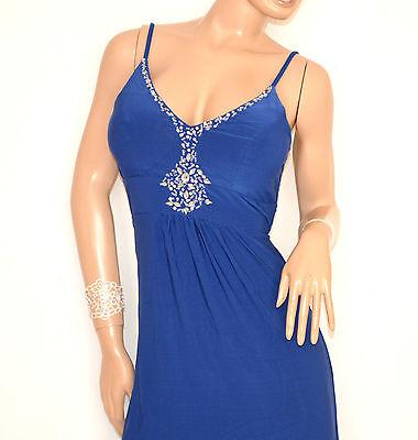 reputable site 01ef6 daee6 ABITO LUNGO BLU donna vestito strass da sera elegante cerimonia damigella  E135