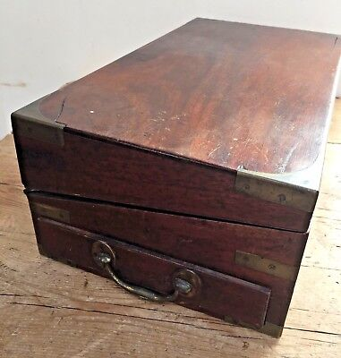 Antique 19Thc  Mahogany Campaign Style Writing Slope /  Box 2