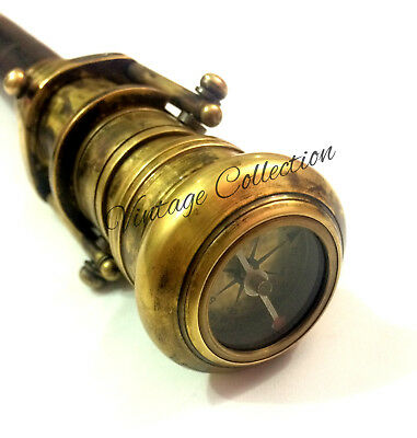 Beautiful Brass Hidden Spy Telescope Wooden Walking Stick with Compass on Top 2