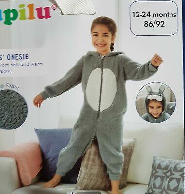Girls All in one Hooded Onesy Sleepsuit Unisex Footless Fleece Kid Pyjamas Cute 3