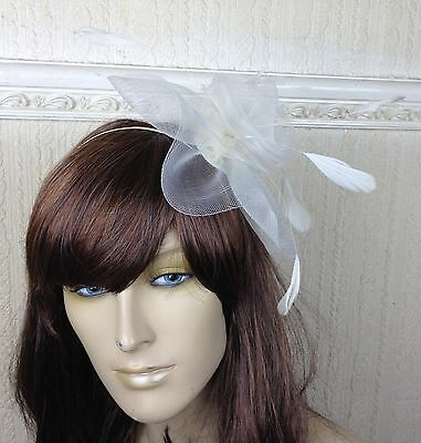 ivory netting feather hair headband fascinator millinery wedding hat ascot race 3