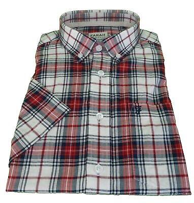 Farah Mens Pink//Grey Check 100/% Cotton Short Sleeved Shirt