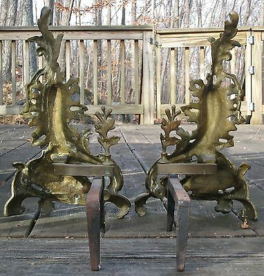 Antique 19th Century Bronze Brass French Louise XV Flames Fireplace Andirons 11