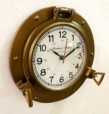 Antique Marine Brass Ship Porthole Clock 22.86 cm Nautical Wall Clock Home Decor 3