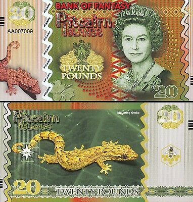Pitcairn Islands 6 Pcs Set Unc 5 10 20 50 100 500 Pounds 2018 Same Serial Number 5